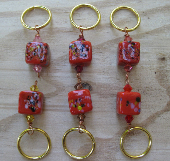 Red Frit Stitch Markers