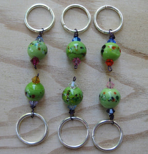 Woolpops Green Frit Knitting Stitch Markers