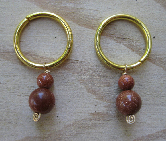Sun Sparkle Copper Goldstone Stitch Markers