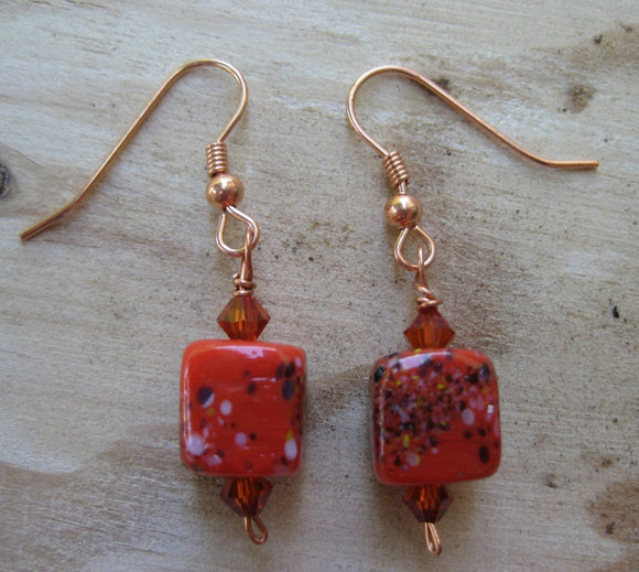 Red Frit Stitch Marker and Earring Set