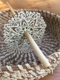 Natural Finished Lace Star Top Whorl Drop Spindle