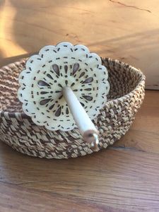 Natural Finished Lace Flower Top Whorl Drop Spindle