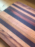 Large Mahogany, Walnut and Oak Cutting and Serving Board