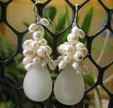 Insouciant Studios Snowfall Earrings White Pearl & Chalcedony
