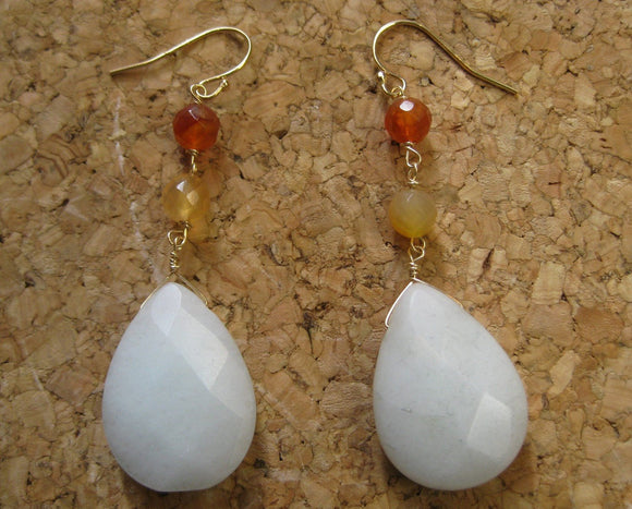 Insouciant Studios Thaw Earrings Citrine and Snow Quartz
