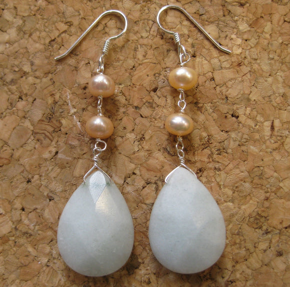 Insouciant Studios Classic Earrings Pearl and Snow Quartz