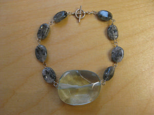 Insouciant Studios The Ocean in Winter Bracelet Sterling Silver and Rutilated Quartz
