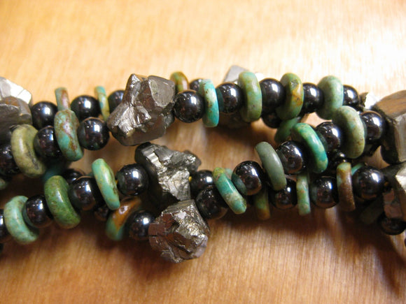 Wanderer Necklace Turquoise Pyrite Hematite
