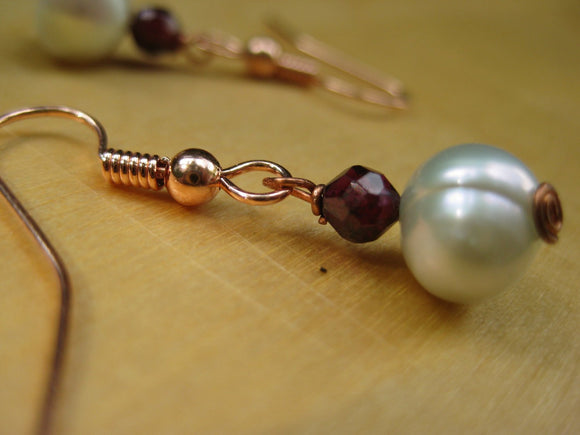 Insouciant Studios Jupiter Earrings Pale Seafoam Pearls and Garnet