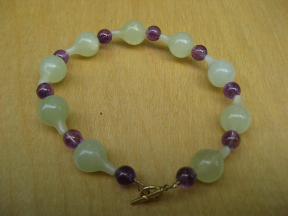 Insouciant Studios Exotics Collection Jardin Bracelet Amethyst and  Jade