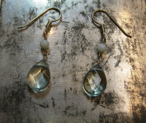 Insouciant Studios Pale Sky Earrings Faceted Quartz Crystal and Amazonite 925