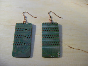Insouciant Studios Dot Matrix Earrings Copper Olive Green Recycled Electronics Technology
