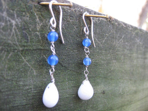 Insouciant Studios Ice Crush Earrings Agate and Snowy Milk Quartz
