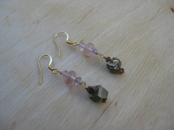 Insouciant Studios Ladylike Earrings Sapphire Pyrite Fluorite and Rose Quartz