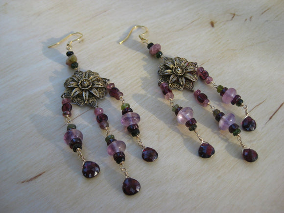 Insouciant Studios Raja Noor Earrings Watermelon Tourmaline Garnet Fluorite