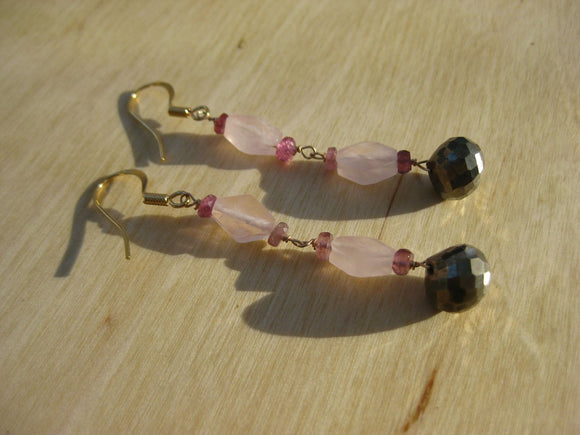 Insouciant Studios Companion Earrings Watermelon Tourmaline Pyrite and Rose Quartz