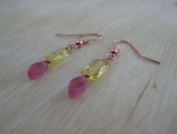 Insouciant Studios Petal Earrings Raspberry and Lemon Quartz