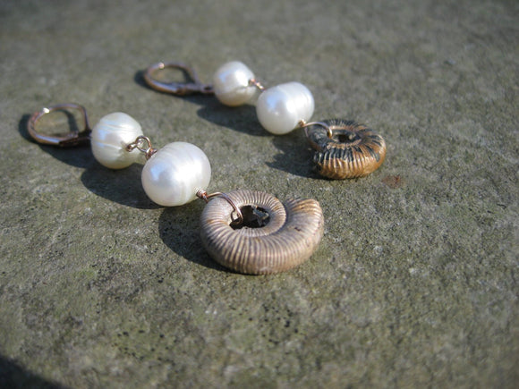 Insouciant Studios Ocean Foam Earrings Ammonite and Pearl