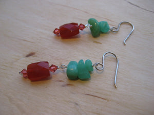 Lake Shasta Earrings Hemimorphite & Carnelian