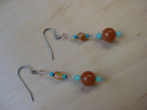 Insouciant Studios Desert Bloom Earrings Turquoise & Carnelian