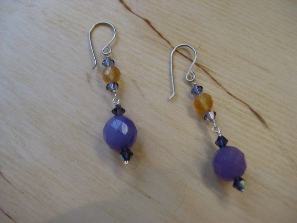 Insouciant Studios Golden Raisin Earrings Amethyst & Carnelian