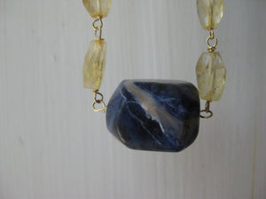 Insouciant Studios Voyage Necklace Sodalite and Citrine