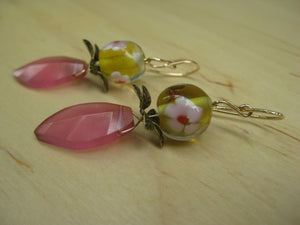 Insouciant Studios Dianthus Earrings Cased Floral Lampwork