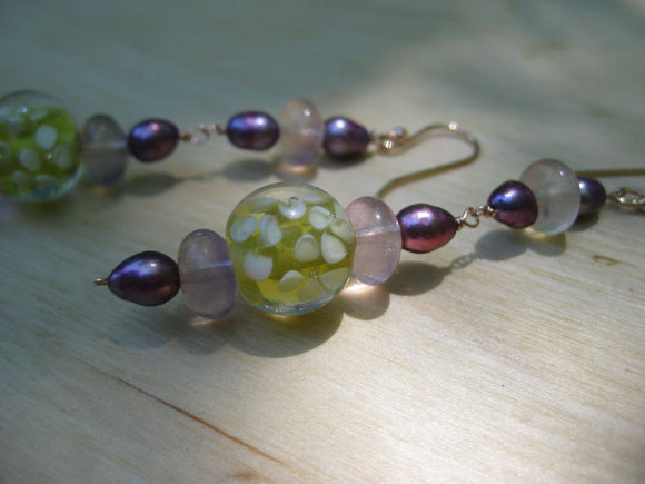 Insouciant Studios Garden Party Earrings Floral Lampwork and Pearl