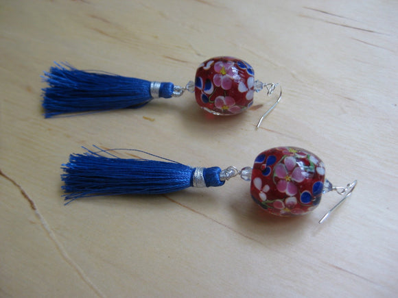 Insouciant Studios Lantern Earrings Floral Lampwork and Tassel