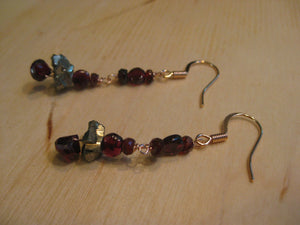 Insouciant Studios Roseate Glitter Earrings Pyrite Garnet