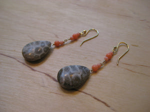 Insouciant Studios Yucatan Earrings Fossil Coral and Natural Coral