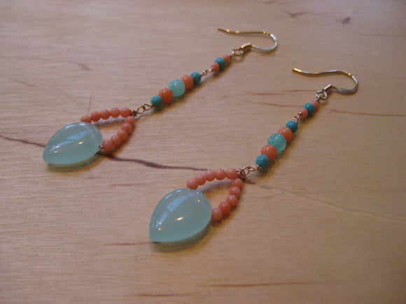 Insouciant Studios Beachy Earrings Coral and Chalcedony