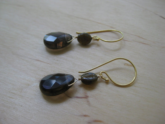 Insouciant Studios Mink Earrings Petro Tourmaline and Smokey Quartz