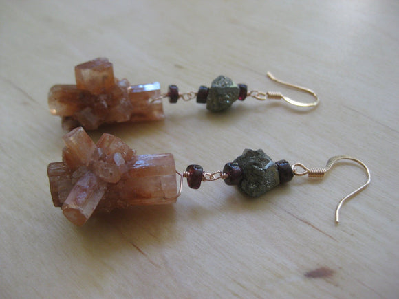 Insouciant Studios Stardust Earrings Aragonite Garnet Pyrite