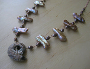 Insouciant Studios Golden Sands Necklace Ammonite Biwa Pearl Wedding Statement