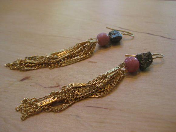 Insouciant Studios Flirty Tassel Earrings Pyrite