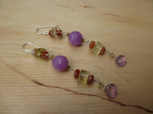 Insouciant Studios Fruity Earrings Amethyst and Oregon Sunstone