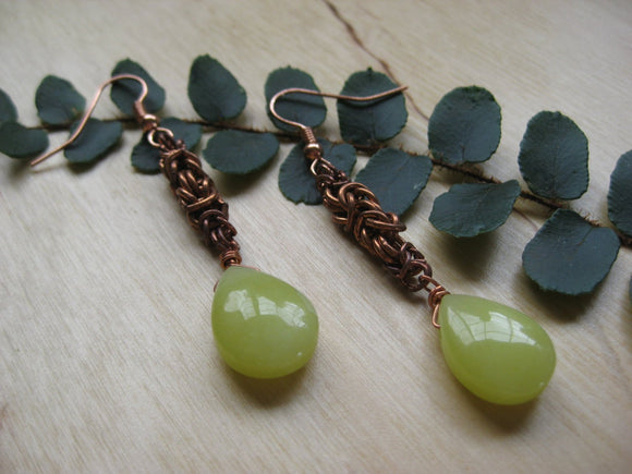 Insouciant Studios First Leaf Earrings Byzantine Chain and Jade
