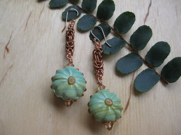 Insouciant Studios Budding Earrings Byzantine Chain and Vintage Glass
