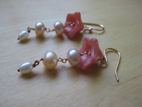 Insouciant Studios Pink Bellflower Earrings in 14k Rose Gold Filled