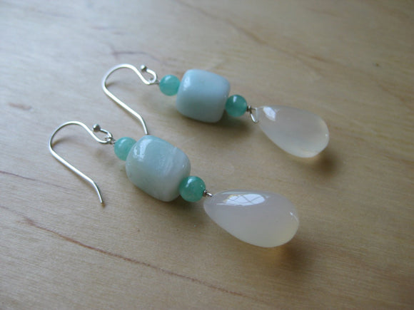 Insouciant Studios Fresh Earrings Hemimorphite Amazonite and Chalcedony