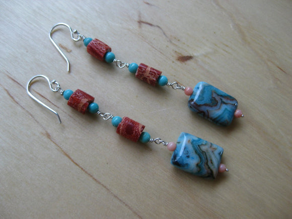 Insouciant Studios Long Tidepool Earrings Coral Agate