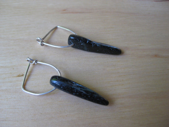 Insouciant Studios Little Gemmy Hoops in Black Dagger