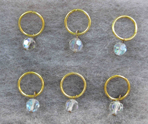 Vintage Aurora Borealis Crystal Stitch Markers Set of 6