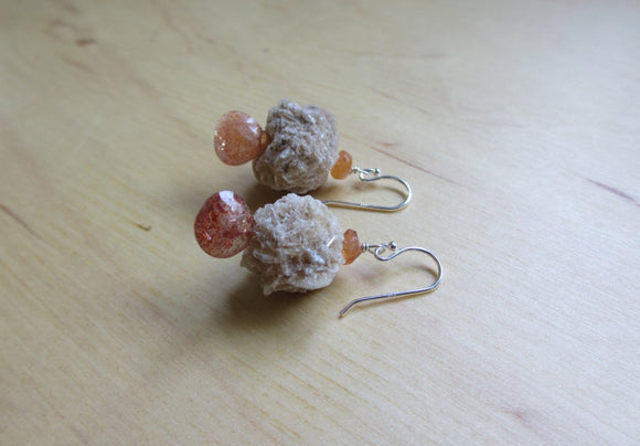 Insouciant Studios Dry Rose Earrings Selenite and Sunstone