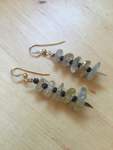 Insouciant Studios Gilded Earrings Rutilated Quartz and Black Spinel