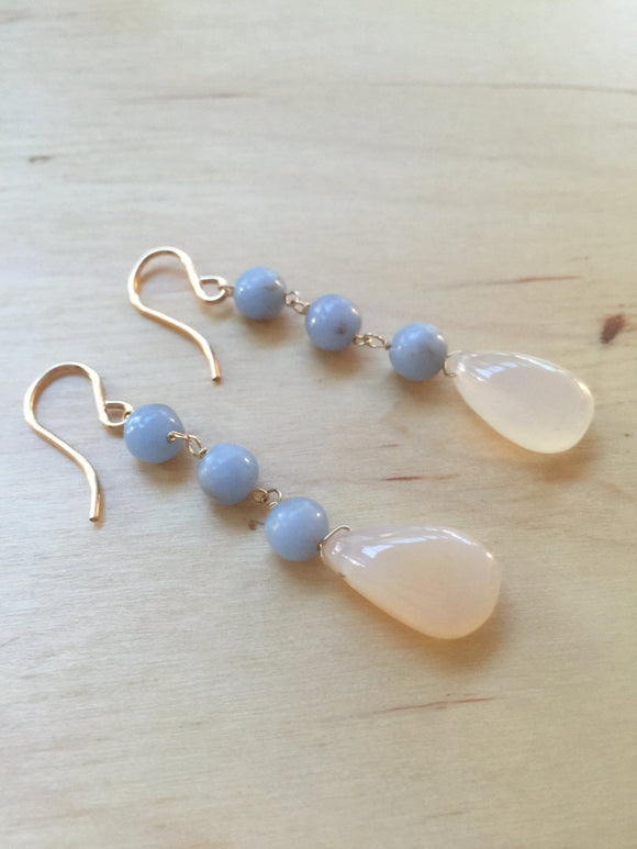Insouciant Studios Muted Earrings Angelite Chalcedony