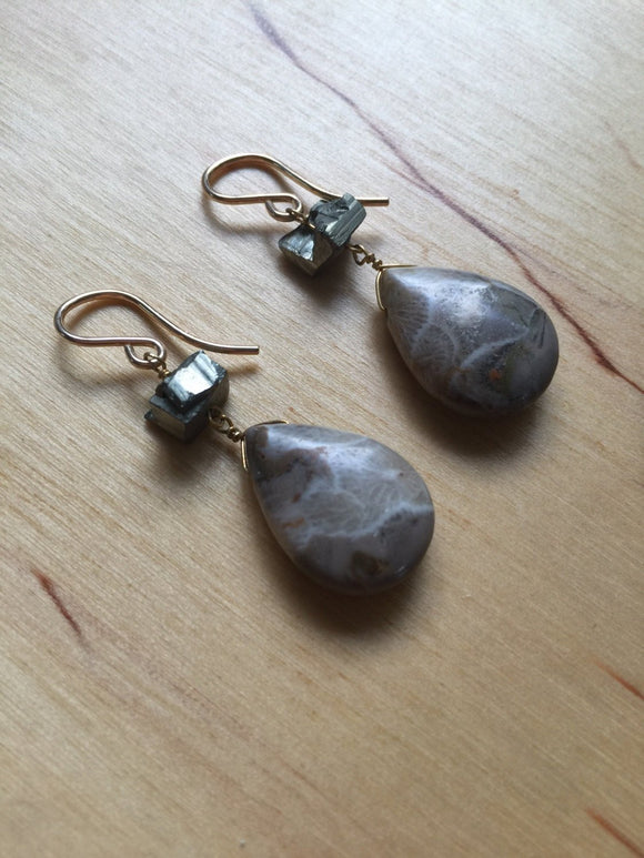 Golding Earrings Fossil Coral and Pyrite