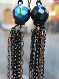 Insouciant Studios Midnight Earrings Brass and Black Chain Dangle