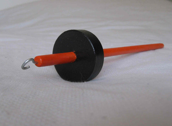Orange and Black Top Whorl Drop Spindle
